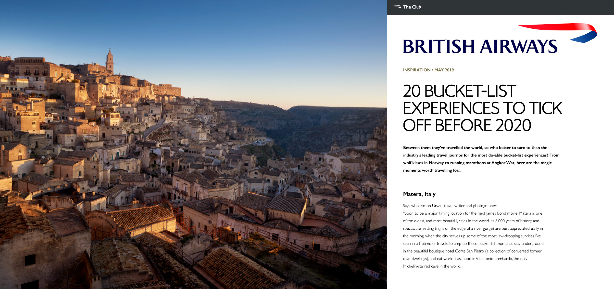Italy | British Airways, Club Magazine | Simon Urwin | Published Articles & Photography