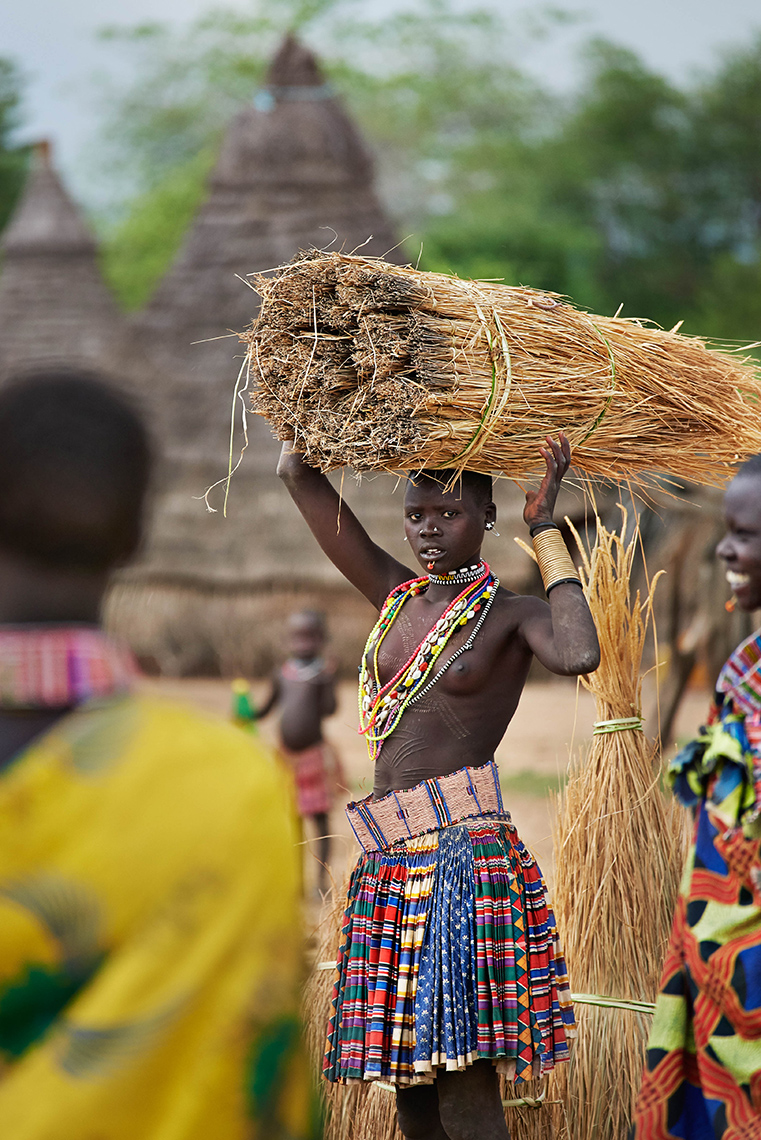 People | Toposa woman with roof thatch, South Sudan