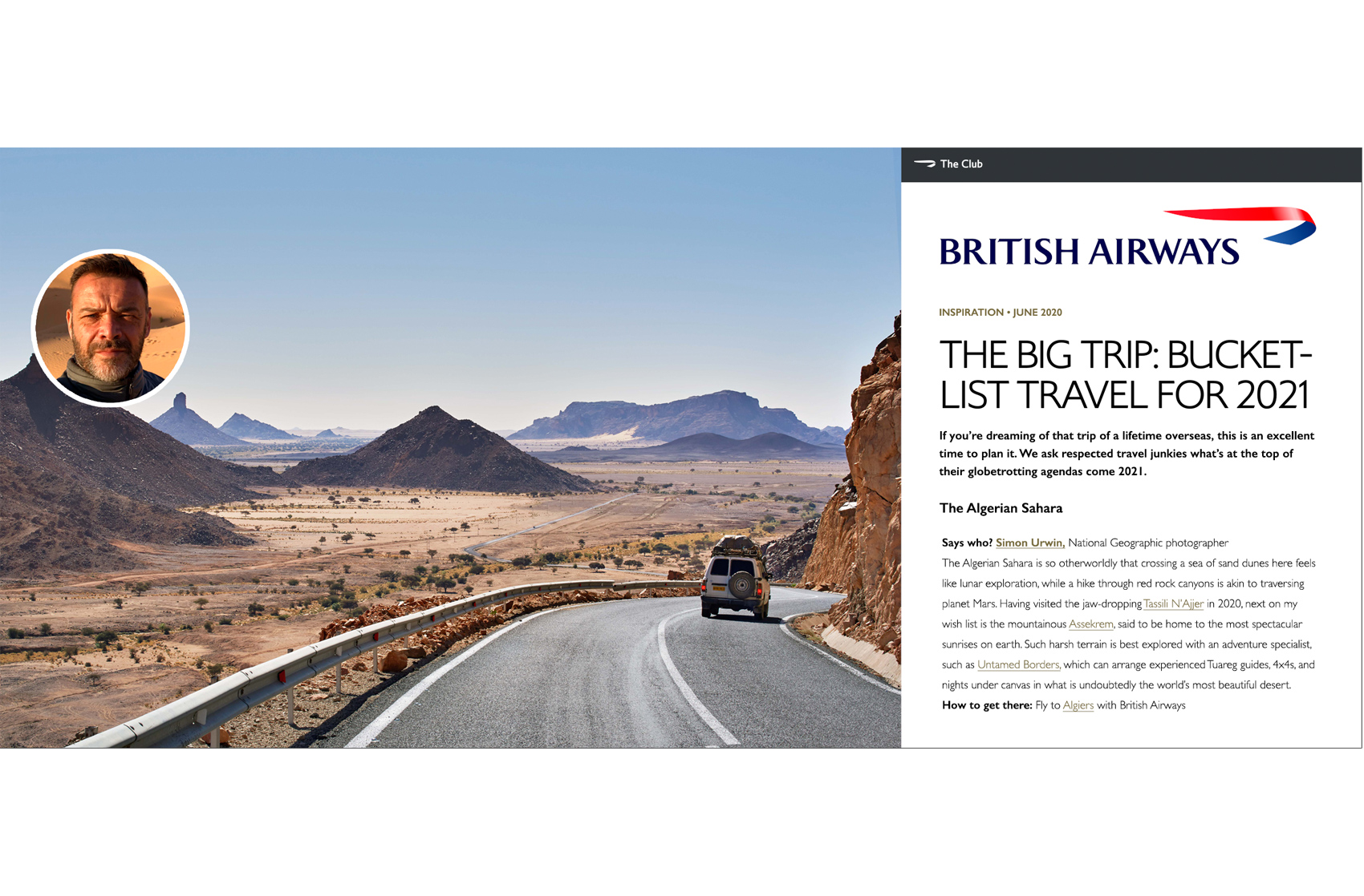 Algerian Sahara | British Airways, The Club Magazine | Simon Urwin | Published Articles & Photography